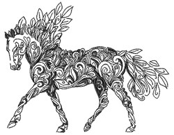 Swirl Horse embroidery design