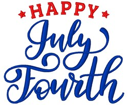 Happy July Fourth embroidery design