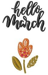 Hello March embroidery design
