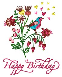 Happy Birthday Bouqet embroidery design