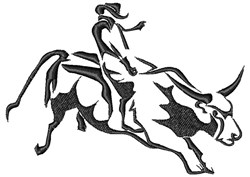 Bull Rider embroidery design