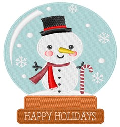 Happy Holidays Snowglobe embroidery design