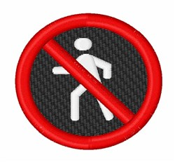 No Pedestrians embroidery design