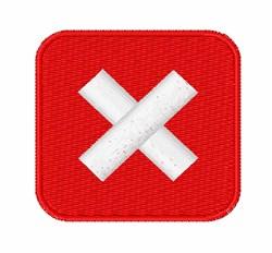 negative squared cross mark symbol embroidery design