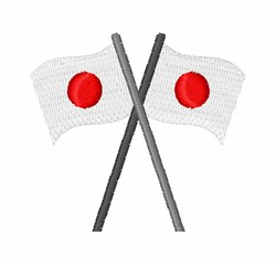 Japanese Crossed Flags embroidery design