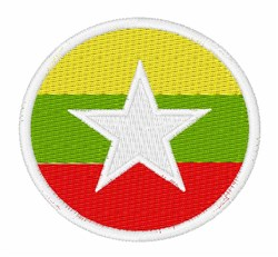 Myanmar Flag embroidery design