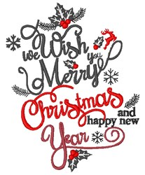 Wish You Merry Christmas embroidery design