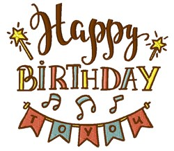 Happy Birthday To You embroidery design
