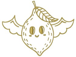 Winged Lemon embroidery design