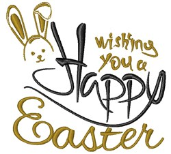 Wishing Happy Easter embroidery design