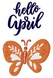 Hello April embroidery design