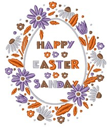Happy Easter Sunday embroidery design
