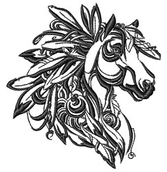 Feather Horse embroidery design
