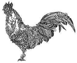 Swirly Rooster embroidery design