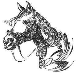 Swirly Horse Head embroidery design