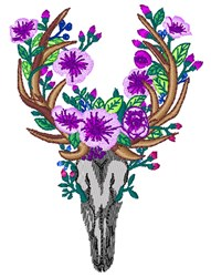Floral Deer Skull embroidery design