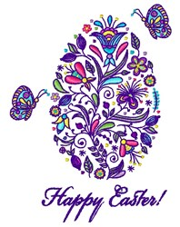Happy Easter Egg embroidery design