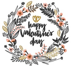 Happy Valentines Day Wreath embroidery design