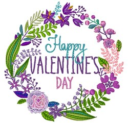 Happy Valentines Wreath embroidery design