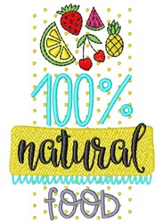 100% Natural Food embroidery design