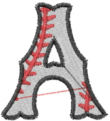 Baseball Letter A embroidery design