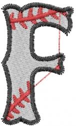 Baseball Letter F embroidery design