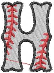 Baseball Letter H embroidery design