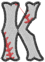Baseball Letter K embroidery design