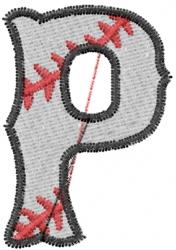 Baseball Letter P embroidery design