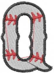 Baseball Letter Q embroidery design