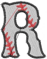 Baseball Letter R embroidery design