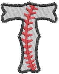 Baseball Letter T embroidery design