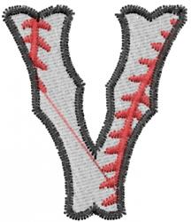 Baseball Letter V embroidery design