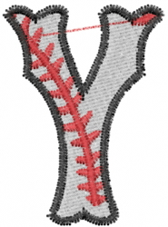 Baseball Letter Y embroidery design