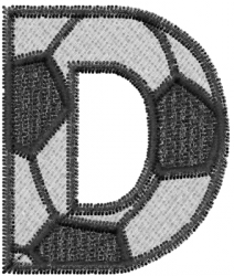 Soccerball  Letter D embroidery design