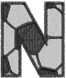 Soccerball  Letter N embroidery design
