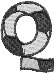 Soccerball  Letter Q embroidery design