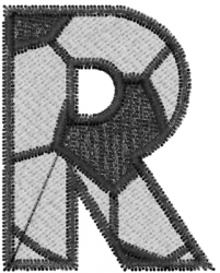 Soccerball  Letter R embroidery design
