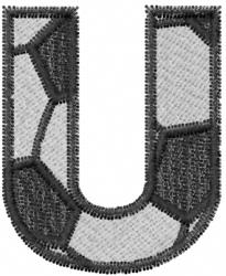 Soccerball  Letter U embroidery design