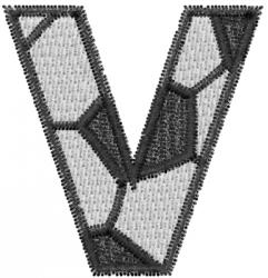 Soccerball  Letter V embroidery design