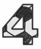 Soccer Number 4 embroidery design