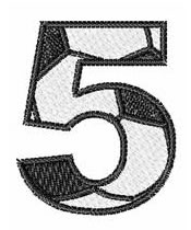 Soccer Number 5 embroidery design