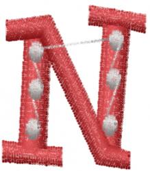 Dot Letter N embroidery design