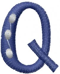 Dot Letter Q embroidery design