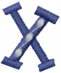 Dot Letter X embroidery design