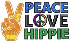 Peace Love Hippie embroidery design