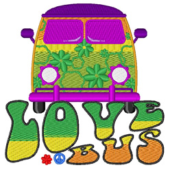 Love Bus embroidery design