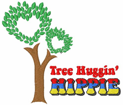 Tree Huggin Hippie embroidery design