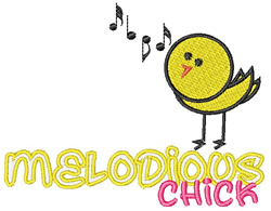 Melodious Chick embroidery design