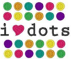 I Love Dots embroidery design